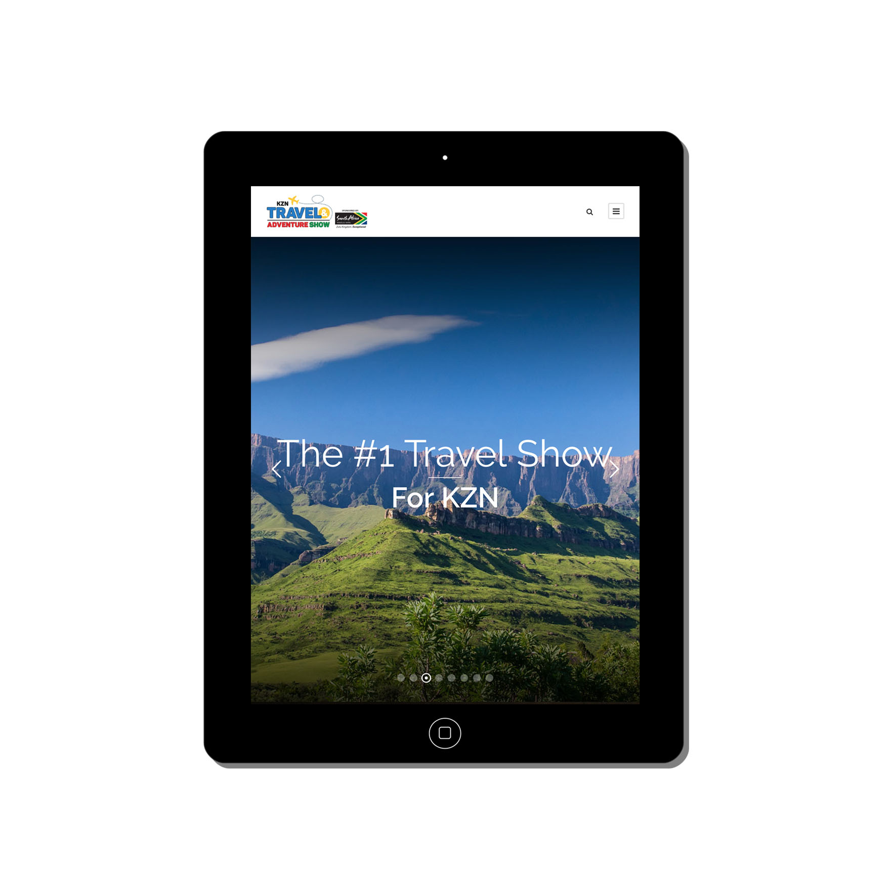 kzn travel and adventure show web-design-portfolio-webdoor-responsive-web-design-agency-hillcrest-kwazulu-natal-tablet